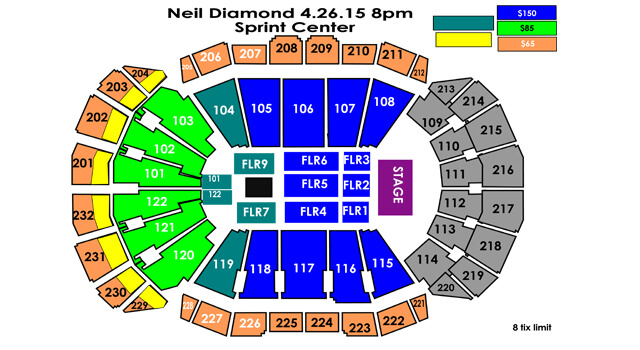 Neil Diamond Seating Chart